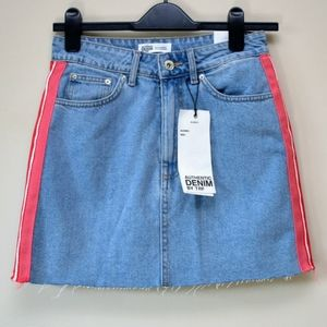 NWT Zara hi-rise denim mini skirt w/ pink stripe